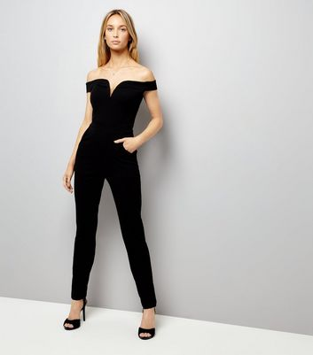 Black Bardot Neck Jumpsuit