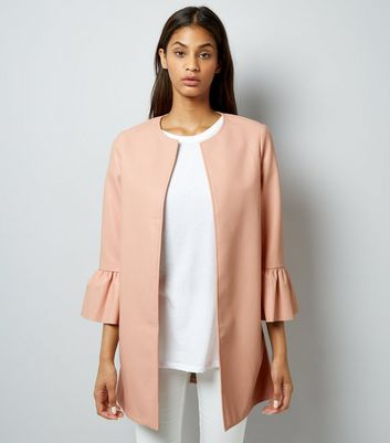 Cameo Rose Pink Leather-Look Frill Sleeve Jacket
