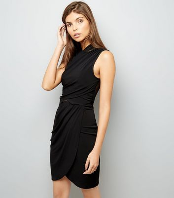 Black Wrap Mesh Back Bodycon Dress