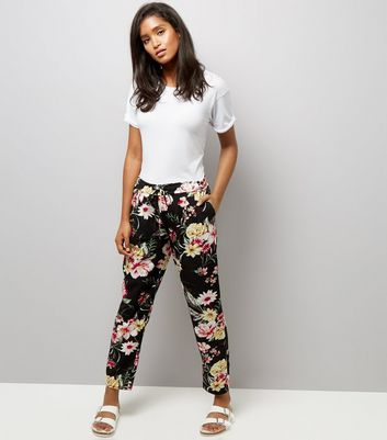 Cameo Rose Black Floral Print Drawstring Trousers