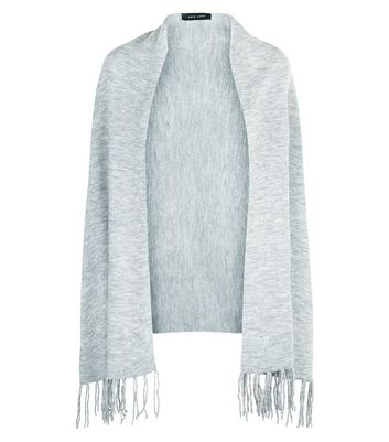 Pale Grey Fringe Hem Ribbed Wrap