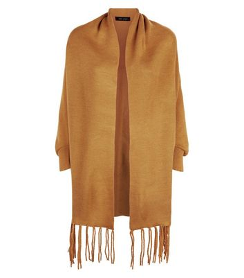Mustard Yellow Fringe Hem Ribbed Wrap