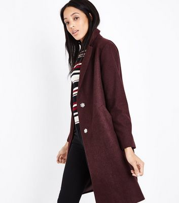 Burgundy Revere Collar Coat