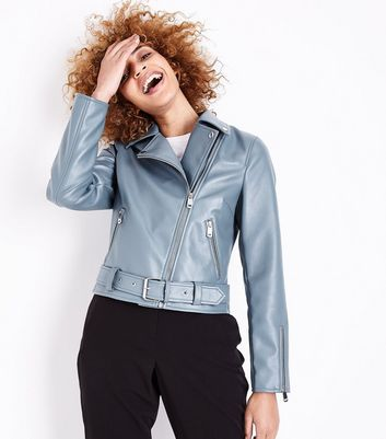 Teal Leather-Look Belted Biker Jacket