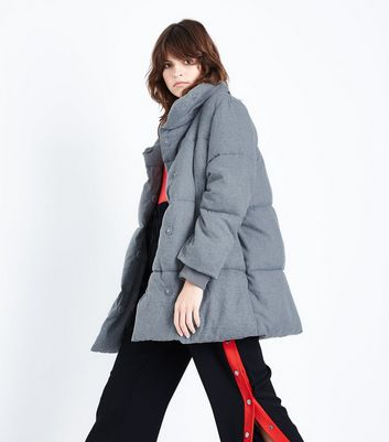 Grey Draped Puffer Jacket
