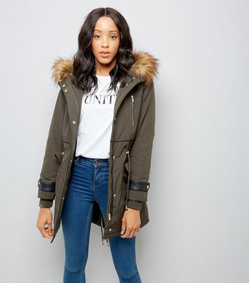 Khaki Faux Fur Lined Leather-Look Trim Parka | New Look