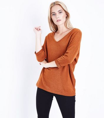 Brown V Neck Fine Knit Top