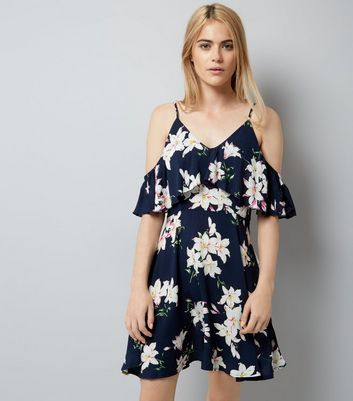 AX Paris Navy Floral Print Frill Cold Shoulder Dress