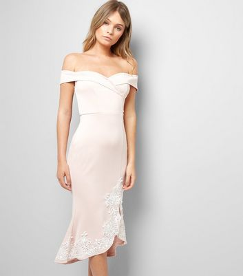 AX Paris Pink Lace Detail Bardot Neck Dress