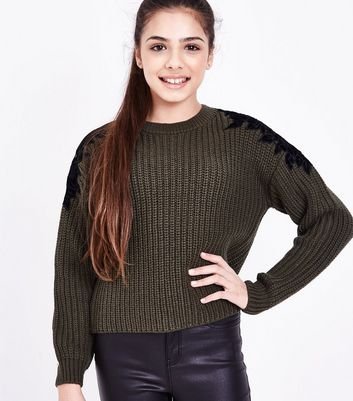 Teens Khaki Floral Lace Trim Knit Jumper