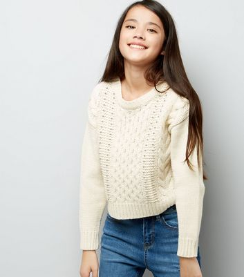 Teens Cream Cable Knit Studded Jumper