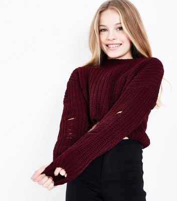 Teens Burgundy Ladder Knit Chenille Jumper