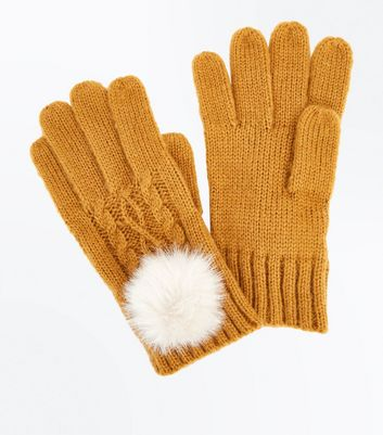 Yellow Cable Knit Faux Fur Pom Pom Gloves