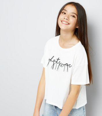 Teens White Whatever Slogan Thread Embroidered T-Shirt