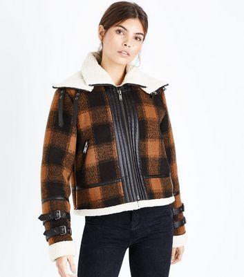 Brown Check Borg Lined Buckle Trim Flight Jacket