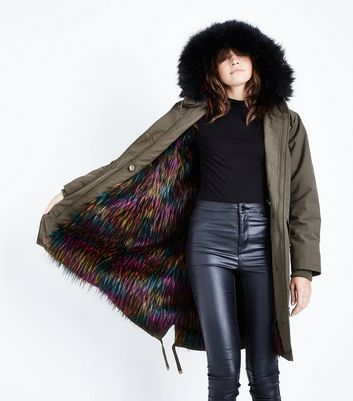 Khaki Multi Coloured Faux Fur Lined Parka