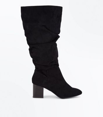 Black Suedette Extra Calf Fitting Knee High Slouch Boots