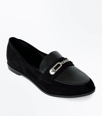 Wide Fit Contrast Panel Metal Trim Loafers
