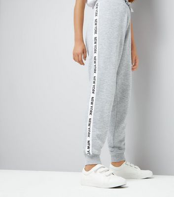 Teens Grey New York Slogan Print Side Tape Joggers
