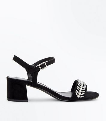 Wide Fit Black Embellished Block Heeled Sandals
