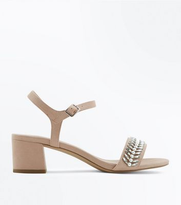 Wide Fit Nude Embellished Block Heeled Sandals