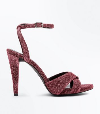 Wide Fit Pink Glitter Cross Strap Heeled Sandals