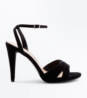 Wide Fit Black Suedette Cone Heeled Sandals