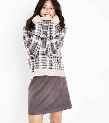 Tall White Textured Check Jumper