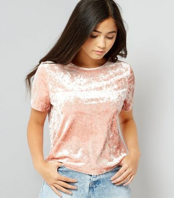 Teens Shell Pink Velvet T-Shirt