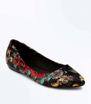 Black Suedette Floral Print Pointed Pumps