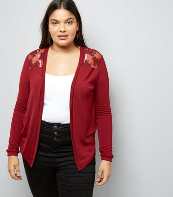 Curves Burgundy Floral Lace Back Cardigan