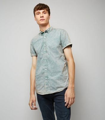 Light Green Acid Wash Short Sleeve Shirt