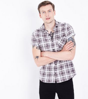 Black Acid Wash Check Print Short Sleeve Shirt