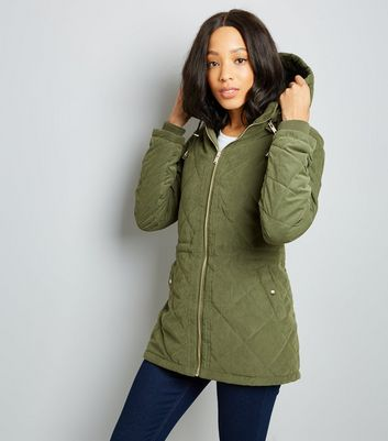 Khaki Quilted Lightweight Parka Jacket