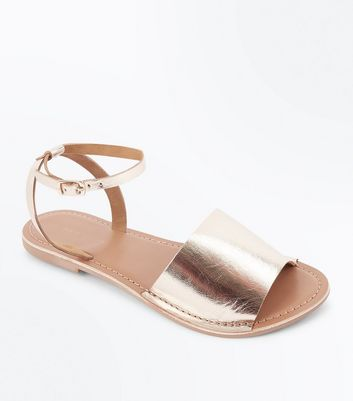 Gold Leather Ankle Strap Sandals