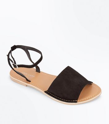 Black Leather Ankle Strap Sandals