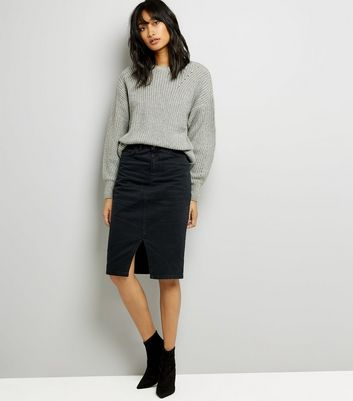 Black Denim Midi Pencil Skirt