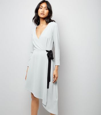 Grey Asymmetric Wrap Front Midi Dress