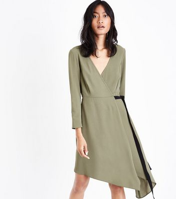 Khaki Asymmetric Midi Wrap Dress