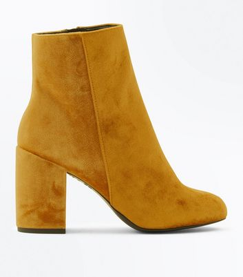 Yellow Velvet Block Heel Ankle Boots