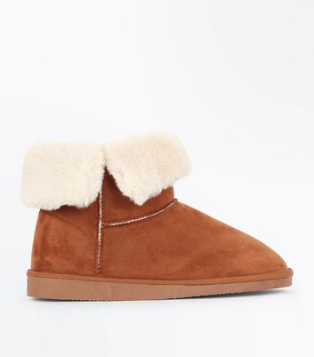 Tan Faux Shearling Fold Down Boots