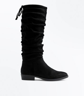Black Suedette Flat Slouch Boots