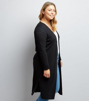 Curves Black Ribbed Midi Cardigan