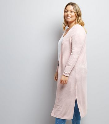 Curves Pink Ribbed Midi Cardigan