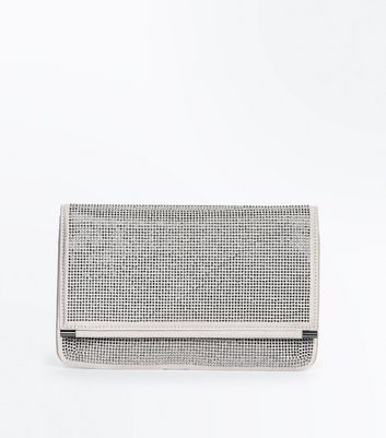 Nude Diamante Embellished Foldover Clutch Bag