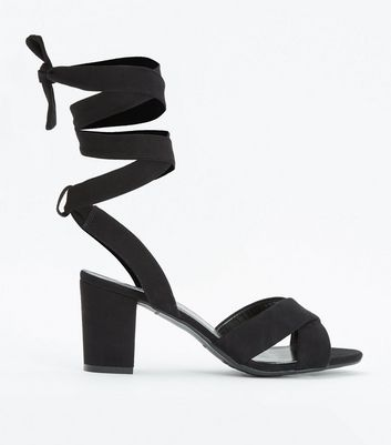 Teens Black Suedette Ankle Tie Heeled Sandals