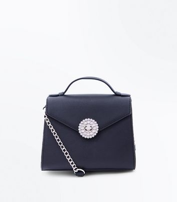 Black Brooch Front Mini Top Handle Bag
