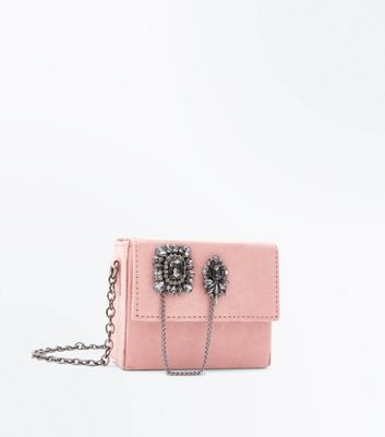 Shell Pink Embellished Mini Cross Body Bag