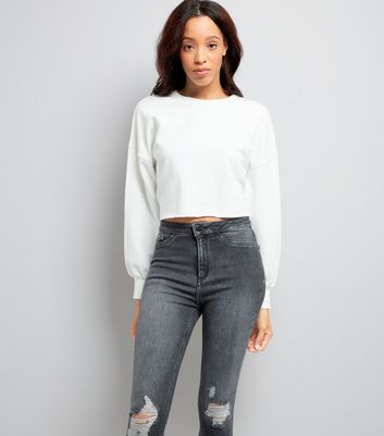 White Balloon Sleeve Cropped Sweater