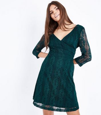 Dark Green Lace Sleeve Wrap Dress